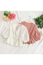 (Pre-order) Eyelet Sleeved Top (Multi-colours)