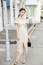 (Pre-order) Mikalia Off-shoulder Dress in Beige