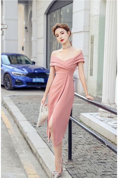 (Pre-order) Mikalia Off-shoulder Dress in Pink